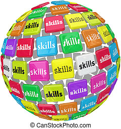 pelota, palabra, habilidades, requerido, experiencia, esfera...