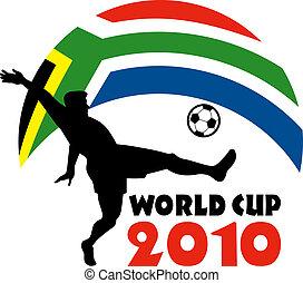 pelota, patear, taza, áfrica, jugador, bandera, república, mundo, futbol, 2010, sur, icono