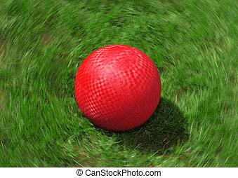 pelota, patio de recreo, rojo