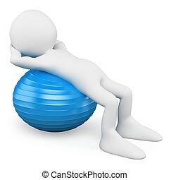 pelota, personas., ejercitar, aeróbicos, blanco, hombre, 3d