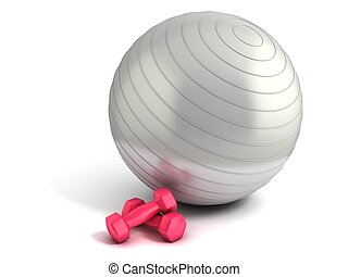 pelota, pesas, condición física
