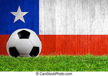 pelota, plano de fondo, pasto o césped, bandera, chile, ...
