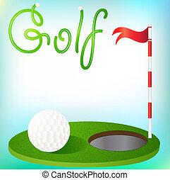 pelota, plano de fondo, pasto o césped, bandera, golfing