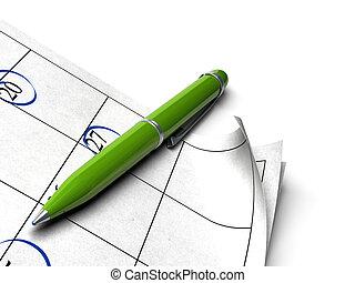 pelota, plano de fondo, punto, encima, página, pluma, verde, agenda, blanco, imagen, agnle