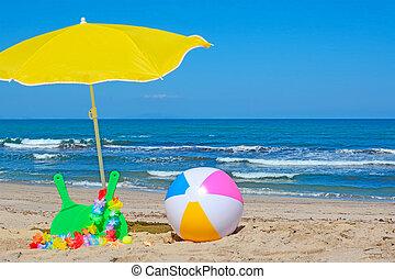 pelota, playa, raquetas