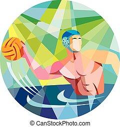 pelota, polígono, agua, jugador, bajo, polo, círculo, tiro