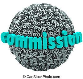 pelota, prima, paga, muestra de los por ciento, comisión, ...