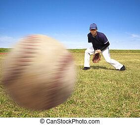 pelota, rápido, jugador, gracioso, beisball, listo