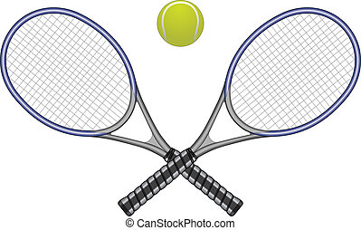 pelota, raquetas del tenis, y