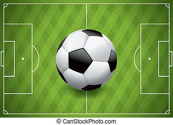 pelota, realista, fútbol, -, campo, textured, futbol