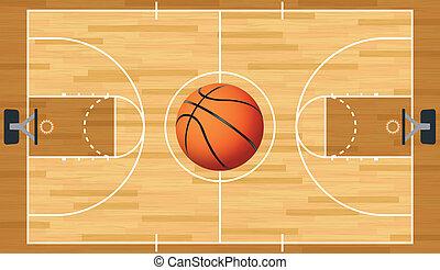 pelota, realista, tribunal, baloncesto, vector