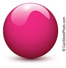 pelota rosa, brillante