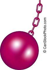 pelota rosa, diseño, destruir