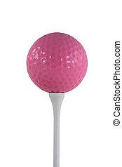 pelota rosa, golf, aislado, tee, blanco