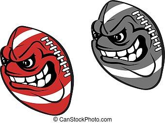pelota, rugby, caricatura