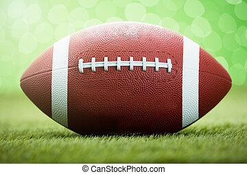 pelota rugby, en, herboso, campo