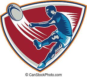 pelota, rugby, protector, woodcut, jugador, patear