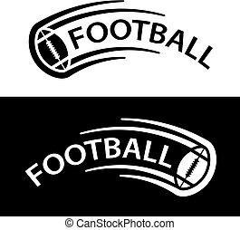pelota, símbolo, fútbol, movimiento, norteamericano, línea
