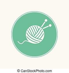 pelota, símbolo, señal, vector, lana, icono