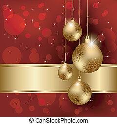 pelota, saludo, brillante, cristal, tarjeta de navidad