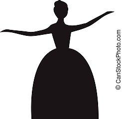 pelota, silueta, bailando, vector, bride., gown., dama