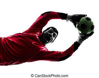pelota, silueta, caucásico, jugador, gracioso, futbol,...