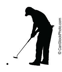 pelota, silueta, -, deporte, poniendo, rodante, golf, golfista