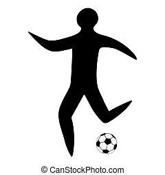 pelota, silueta, deportista, jugador, futbol, hombre