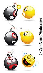 pelota, smiley, bomba
