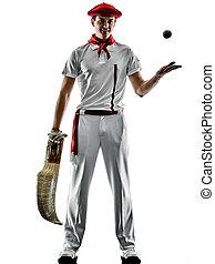 pelota, spieler, silhouet, punta, freigestellt, mann, baske...
