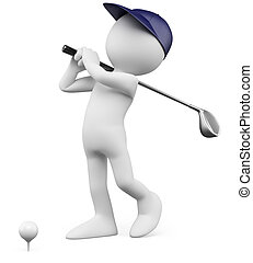 pelota, teeing, golfista, -, de, golf, 3d