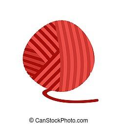 pelota, tejido de punto, aislado, hilo, lío, lana, rojo, threads.