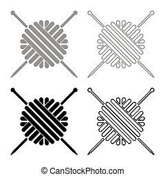 pelota, tejido de punto, color, gris, hilo, agujas, negro, conjunto, lana, icono