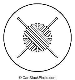 pelota, tejido de punto, color, hilo, agujas, círculo negro, lana, redondo, icono