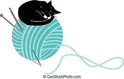 pelota, tejido de punto, gato