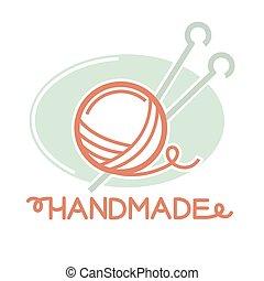 pelota, tejido de punto, hilo, dentro, dos, señal, agujas, logotipo