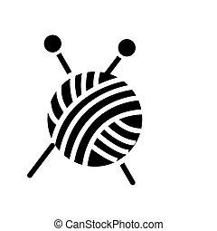 pelota, tejido de punto, ilustración, costura, -, aislado, hilo, señal, vector, fondo negro, icono, agujas