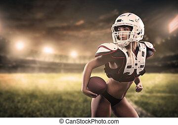 pelota, tenencia, panorama, futbolista, mujer americana, estadio, vista