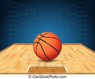pelota, tribunal baloncesto, ilustración, torneo