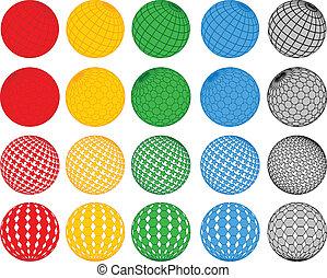 pelota, vector, colección, disco