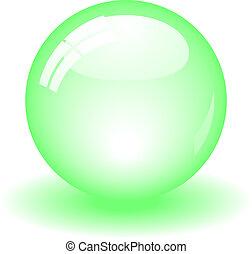 pelota, verde, brillante