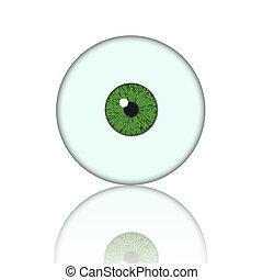 pelota verde, ojo