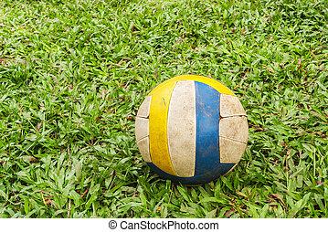 pelota verde, viejo, pasto o césped, plano de fondo