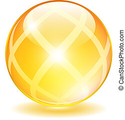 pelota vidrio, amarillo