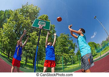 pelota, vuelo, saltar, niños, fisheye, vista