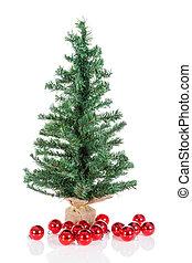 pelotas, árbol, aislado, blanco, navidad, rojo