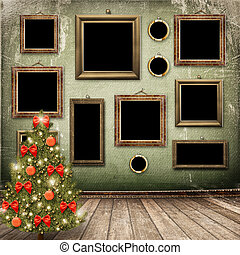pelotas, árbol, arcos, tarjeta de navidad, congratulation.