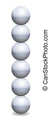 pelotas, apilado, esferas, hierro, torre, balance