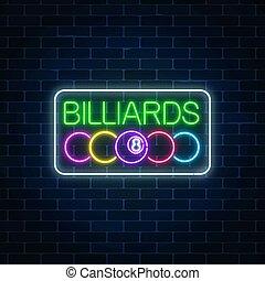 pelotas, barra, frame., pared, signboard, billar, neón, fondo., encendido, billiard, texto, ladrillo, rectángulo