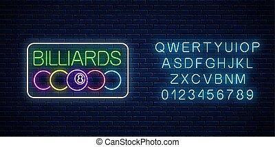 pelotas, barra, frame., signboard, billar, neón, encendido, billiard, texto, alphabet., rectángulo